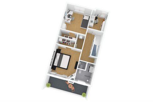 Utrecht, Willem van Noortstraat 77_v01_3d_2e Verdieping dakaanzicht 3 gemeubileerd