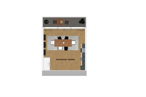 Utrecht, Willem van Noortstraat 77_v01_3d_3e Verdieping Plattegrond gemeubileerd